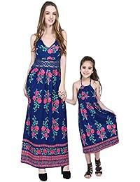 PAOLIAN Vestido para Madre e Hija Verano Casual Trajes a Juego de Mamá y Niñas Impresiones