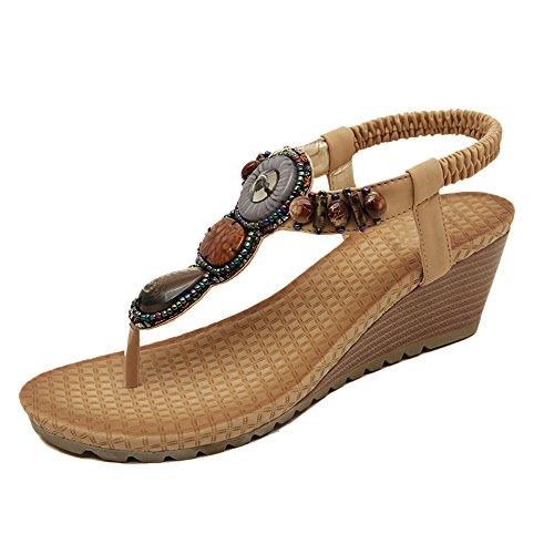 Da donna Scarpe sandalo flip-flop Di perline in strass Bohemia stili albicocca