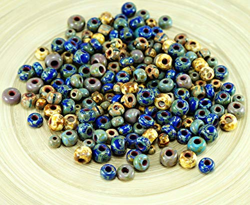 Anissa Exklusive Picasso-Mix-Tschechische Glas Samen Perlen Rustikalen Blau Multicolor Gestreift Rau im Alter Stammes-20g -