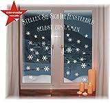 WIEDERVERWENDBARE winterliche Fensterbilder weiß | Schneeflocken | Weihnachten | Fensterdeko | konturgetanzt ohne transparenten Hintergrund (Schneeflocken)