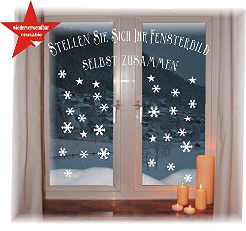 das-label Wiederverwendbare winterliche Fensterbilder weiß | Schneeflocken | Weihnachten | Fensterdeko | konturgetanzt ohne Transparenten Hintergrund (Schneeflocken)