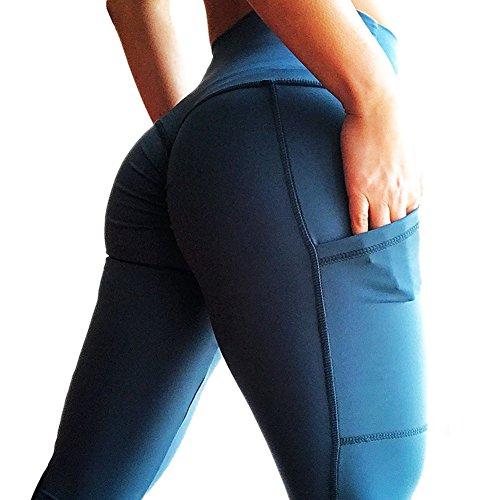 Mujer Leggins Push Up Tights Yoga - Mujeres Leggings Pantalones de Chándal Elástico Pantalones de Fitness Color Sólido Cintura Alta de Correr Mellas Juleya