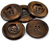 SiAura Material 20 Stück Holzknöpfe Rund Kaffeebraun