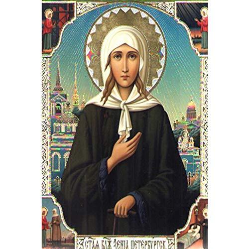ENGKUNZHE5DDIY Mosaico religioso Virgen María Bordado Redondo Punto de Cruz Set Diamante Pintura