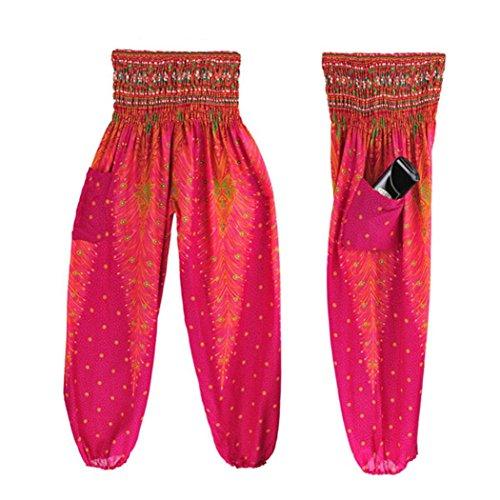 Damen Leggings Ronamick Männer Frauen Thai Harem Hosen Boho Festival Hippie Kittel Hohe Taille Yoga Hosen (Freie Größe, Rose rot) (Weiße Thai-yoga-hosen)