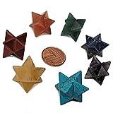 Conjunto de siete estrellas Merkaba potenciadoras de energía en piedras semipreciosas en los colores de los 7 chakras, para reiki, desbloqueo de energías y protección