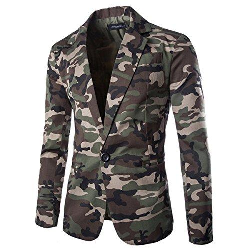 Sichyuan Herren Klassischer Anzug Business Anzug Camouflage Print Blazer ,Leicht Slim Fit Sakko Suit Jacke Tops Mantel Kurzmäntel Outwear.