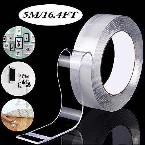 Doppelseitiges klebeband transparent, ZoneYan Nano Entfernbares Klebeband, Doppelseitiges,Wiederverwendbare, Rutschfeste, Mehrfach Verwendbare Klebestreifen (Transparent, 5m, 1 Rolle)