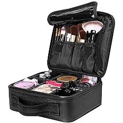 Luxspire Makeup Kosmetikkoffer, Professionelle Make Up Etui Kosmetische Box Tragbare Reise Künstler Aufbewahrungstasche Toiletry Organizer mit einstellbaren Teiler, Schwarz