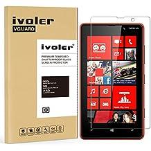 Nokia Lumia 820 Protection écran, iVoler® Film Protection d'écran en Verre Trempé Glass Screen Protector Vitre Tempered pour Nokia Lumia 820 - Dureté 9H, Ultra-mince 0.20 mm, 2.5D Bords Arrondis- Anti-rayure, Anti-traces de doigts,Haute-réponse, Haute transparence- Garantie de Remplacement de 18 Mois