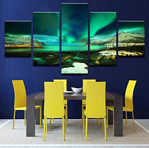 upinfan Hd Drucke Leinwand Modulare Bilder Wandkunst Rahmen 5 Paneele Polarregion Aurora Gemälde Green Lake Poster Wohnkultur Zimmer