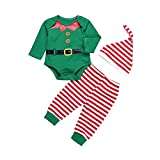 Yalatan 3Pcs Neonati Maschi Set di Vestiti Cartoon Pagliaccetti a Maniche Lunghe + Pantaloni + Cappello Babbo Natale Dress up Baby Vestiti di Capodanno 0-6 Mesi