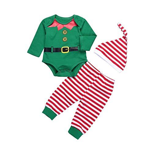 Yalatan 3 Stück Baby Jungen Mädchen Kleidung Set Cartoon Langarm Strampelhöschen + Hosen + Hut Santa Claus Dress up Baby Neujahr Kleidung 6-12 Monate