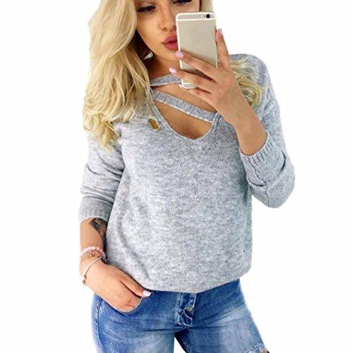 Pullover Damen Sweatshirt Ronamick langen V-Ausschnitt sexy Einfarbig Langarm Bandage Mode Top Blouse (Grau, S) (Crewneck Cardigan Damen Pullover)