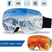 infinitoo Skibrille mit 1 Ersatzobjektive Ski Snowboard Brille Brillenträger Schibrille Verspiegelt mit Doppel-Objektiv OTG| Beschlag- und UV-Schutz, für Schneemobil-, Skifahren oder Skaten