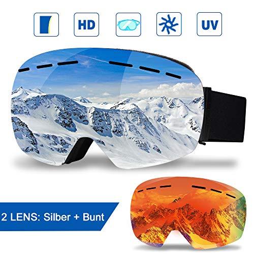 infinitoo Skibrille mit 1 Ersatzobjektive Ski Snowboard Brille Brillenträger Schibrille Verspiegelt mit Doppel-Objektiv OTG  Beschlag- und UV-Schutz, für Schneemobil-, Skifahren oder Skaten