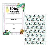 Made by Nami 12 x Einladungskarten im Set für Jeden Anlass / Aloha Design / Einladung Geburtstag / Party / Einweihung / Feier / Geburtstagseinladungen Din A6 Kartenset (Ohne Umschläge)