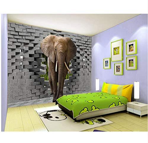 Diy Tapete Für Schlafzimmer Wände Thai Elefant Cartoon 3D Home Decor Wandtattoo Seidentuch-(W)300x(H)210cm -