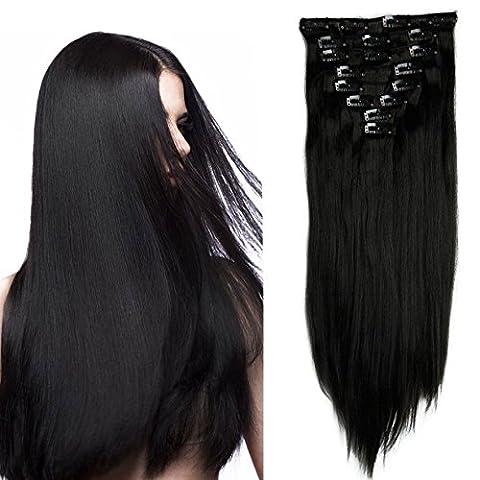S-noilite - 8 Extensions 58 cm cheveux lisses et souples à clipser - extensions cheveux clips naturel-noir foncé