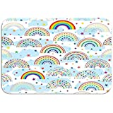 Carpet Rug Door Mat Rainbow Half Love Star Colorful Cloud Seamless Pattern Design Decoration Sky White