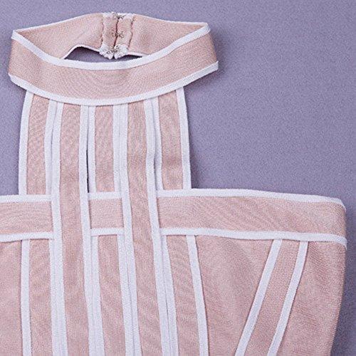 HLBandage Women Halter Neck Stripe Knee Length Rayon Bandage Dress Rose