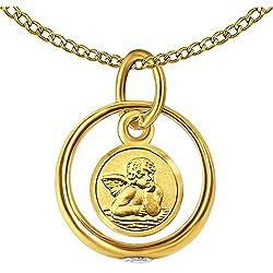 Clever Schmuck Anneau de baptême avec médaille ronde ange, pierre de zircon brillante et chaîne à maillons 34 cm, en or 333 8 carats dans un étui