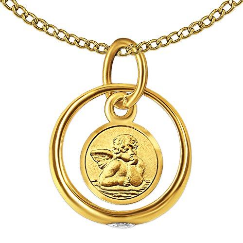 CLEVER SCHMUCK Set Goldener Kleiner Taufring Engel rund mit Zirkoniastein glänzend und Kette Weitpanzer 34 cm, beides 333 Gold 8 Karat im Etui