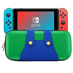 MoKo Tasche Kompatibel mit Nintendo Switch, tragbare Hartschalen-Schutzhülle Reisetasche Aufbewahrungstasche case mit 10 Game Cartridge-Haltern für Switch Console – Grün + Blau