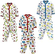 NammaBaby Unisex Cotton Assorted Print Top & Bottom Pajama Set (Pack o