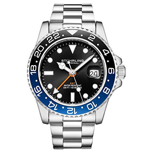 Stuhrling Original Herren Edelstahl Dreireihiges Armband GMT Uhr - Schweizer Quarz, Dual Time, Quickset Datum mit verschraubter Krone, wasserdicht bis 10 ATM (Black/Blue)