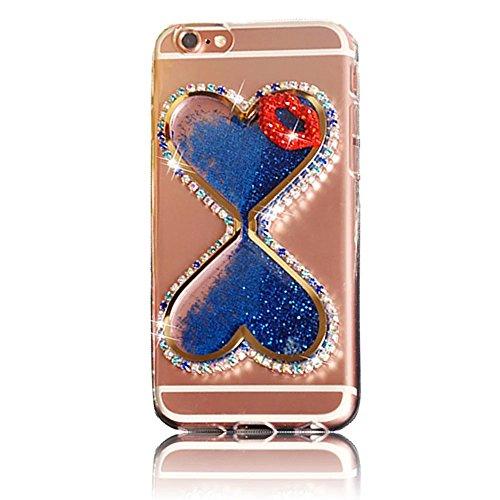 iPhone 6s Plus Hülle, iPhone 6 Plus Hülle, Vandot Flüssiges Liquid Glitzer Diamant Schutzhülle für iPhone 6s Plus / 6 Plus Handyhülle Glitter Bling Shining Luxus Transparent TPU Silikon Zurück Case Co Sanduhr Blau