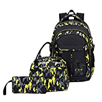 Bansusu 3Pcs Camo Flora Elementary Rucksack Bookbag for Primary Boys Camouflage School Backpack Set with Lunch Kits