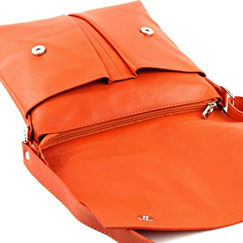 modamoda de ital. Borsa a tracolla Messenger signore borsa grande in pelle T75 Orange2