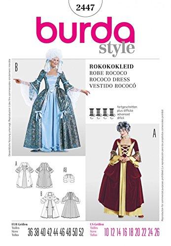(Burda Damen Schnittmuster 2447–Rokoko Kleid Kostüm Größen: 10–26)
