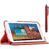 ebestStar - Housse Samsung Galaxy Tab 3 Lite 7.0 T110, Lite 7.0 VE T113 - Housse Coque Etui PU cuir Support rotatif 360° + Stylet tactile, Couleur Rouge [Dimensions PRECISES de votre appareil : 193.4 x 116.4 x 9.7 mm, écran 7'']