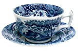 Spode Blue Italian Earthenware Teacup and Saucer