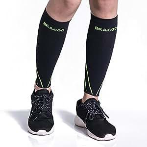 BRACOO Waden Kompressionsstulpen – Beinlinge – Wadenbandage –Wadenkompression   Laufstulpen ideal beim Sport wie Laufen und Radfahren   L   gelb