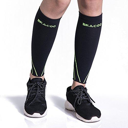 BRACOO Waden Kompressionsstulpen – Beinlinge – Wadenbandage –Wadenkompression | Laufstulpen ideal beim Sport wie Laufen und Radfahren | L | gelb (Logo Über Socke)