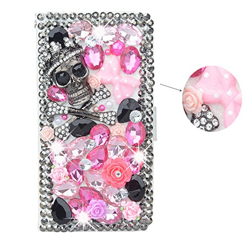64 Iphone 5s Cricket (spritech (TM) 3D Handmade Bling Diamond Design Case Luxus PU Leder Wallet Case Flip Cover Mit Kreditkartenfächer Und Aufstellfunktion, Color-64, iPhone 5S)