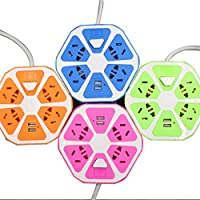 Rocita Zócalo USB Poroso Inteligente Zócalo de Viaje Conveniente Tablero de Cableado del Dormitorio del Estudiante Color Aleatorio