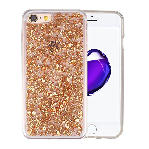iPhone 8 / iPhone 7 Hülle und Panzerglasfolie, Minto biegsame TPU Soft Schutzhülle Glitzer Pailletten Design in Lila für iPhone 7 / 8 Gold -i7