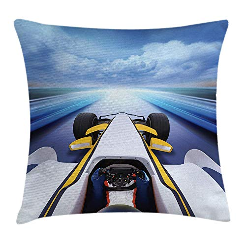 KLYDH Cars Throw Pillow Cushion Cover, Overhead Route Perspective from Open Cockpit Racing Car Driving at High Speed Illustration, Decorative Square Accent Pillow Case, 18 X 18 Inches, Multi