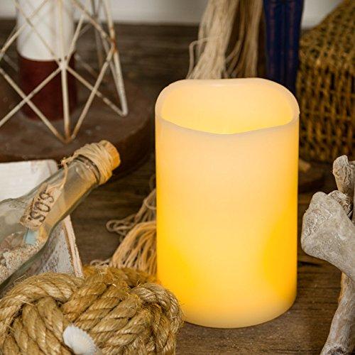 Vela cilindro de cera, h. 15 cm, a pilas, LED luz cálida, efecto llama, luces a pilas, luces de Navidad, velas LED