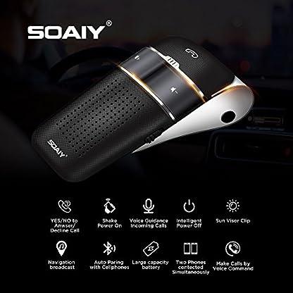SOAIY-S32-Auto-Kfz-Bluetooth-V41-Freisprecheinrichtung-Freisprechanlage-Car-Kit-fr-Sonnenblende-Automatische-Abschaltung-und-Aktivierung-mglich-Musik-GPS-Untersttzung-mit-deutscher-Sprachausgabe