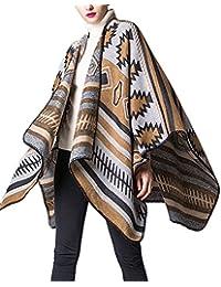ZongSen Cape Poncho Femme Foulard Couverture Élégant Vintage Chaud Châle  Automne Hiver avec Motifs Géométriques dee36a0030b