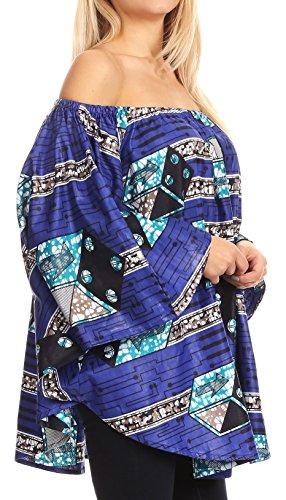 Sakkas Zane Blouse Poncho à épaules dénudées et décolleté élastiqué Bleu / Turq Multi