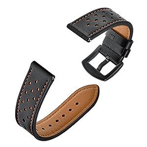 Amoer Armband für Samsung Gear S3 frontier / classic / Galaxy Watch 46mm Leder Schnellwechsel Unisex 22mm