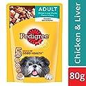 Pedigree Adult Wet Dog Food, Chicken & Liver Chunks in Gravy - 80 g Pouch