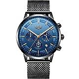 Orologi da uomo LIGE Sport Cronografo impermeabile Cinturino in acciaio inox Orologi da uomo Abito da lavoro con orologio analogico al quarzo ...