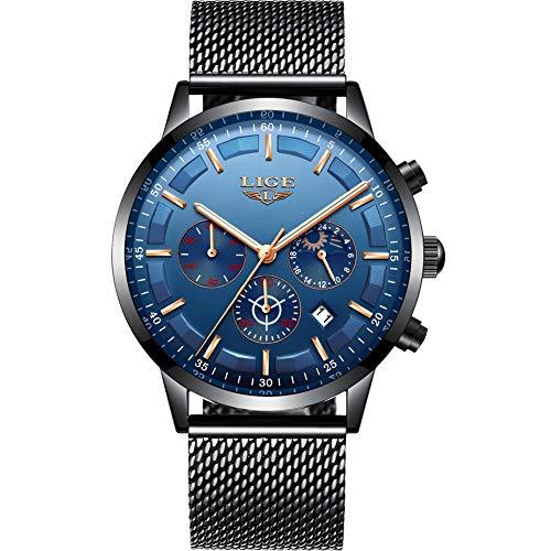 LIGE Herren Uhren Mode Wasserdichte Chronograph Quarz Uhr für Mann Business Kleid mit Schwarzem Edelstahlgewebe ...